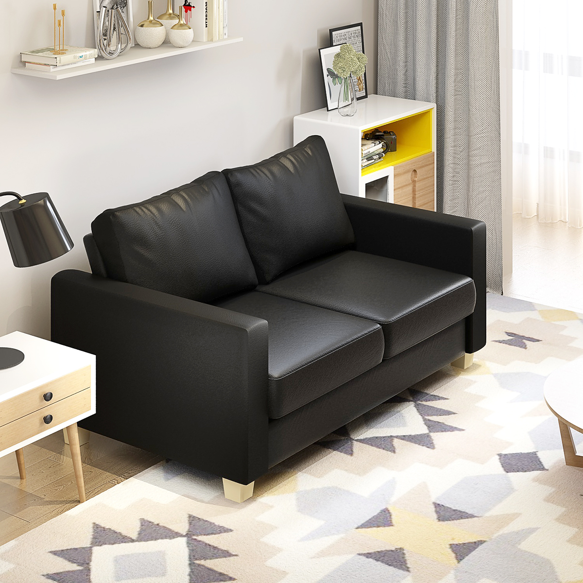 Brown Leather Sofa Modern Decorating Ideas: 2 Seater Sofa Black Or Brown Faux Leather Modern Design