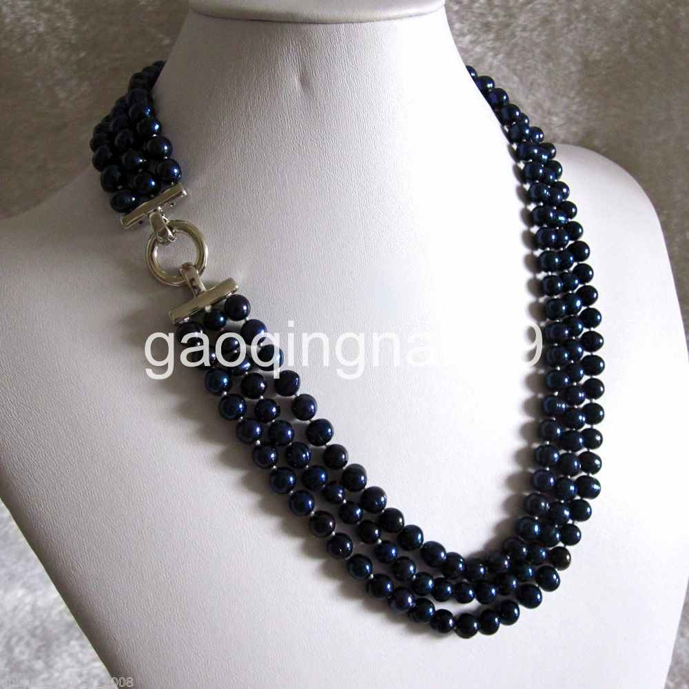 """100/"""" 7-9mm Navy Freshwater Pearl Necklace Pearl Long Necklace"""