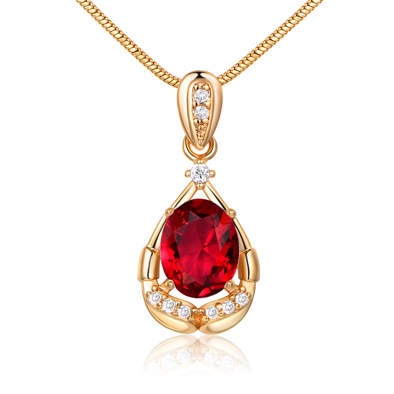 Luxury Pear Ribbon Pendant Oval Sapphire Crystal Gold Filled Women Lady Necklace