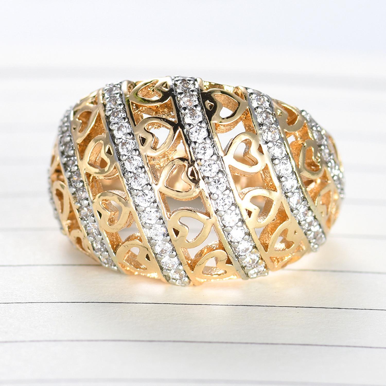 Women Ladies Men Gold Ring Crystal Zircon Rhinestones Ring Size 6-9 Fashion New