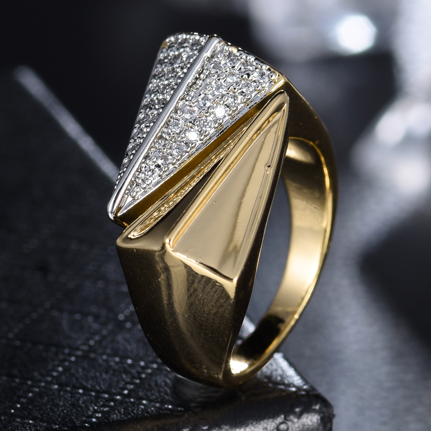 40465e6e0c8c Wedge Adjustable Wrap Silver   Gold Filled Swarovski Crystal Women Wedding  Ring