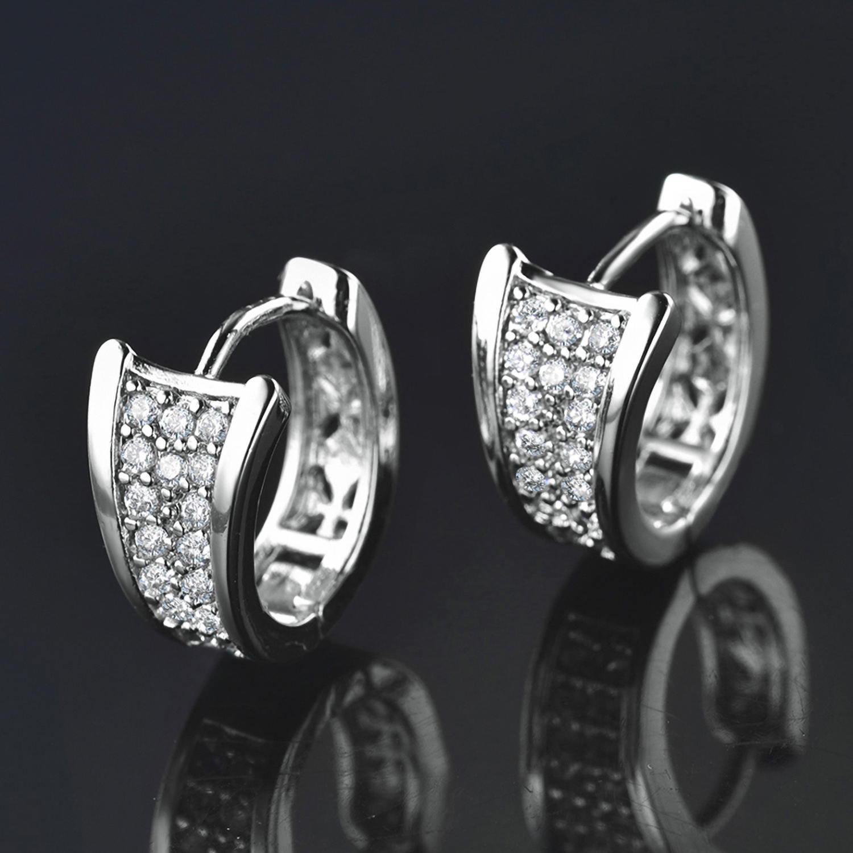 5f4dd5687 Fan Shape Huggie Crystal Diamond Silver / Rose / Gold Filled Women Hoop  Earrings