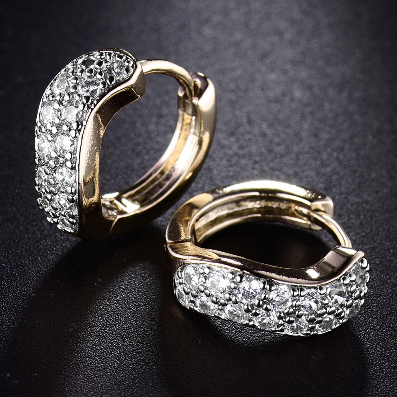 Cross Ribbon Silver Gold Filled Crystal Zircon Women Lady Wedding Hoop Earring
