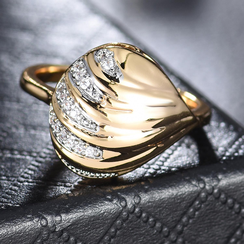 Lovely Shell Silver /& Gold Filled Crystal CZ Zircon Women Lady Finger Rings BOX