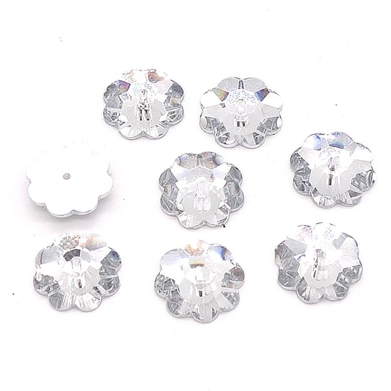 Wholesale 100pcs Sew On Resin Rhinestones Plum flower Buttons beads DIY 10mm