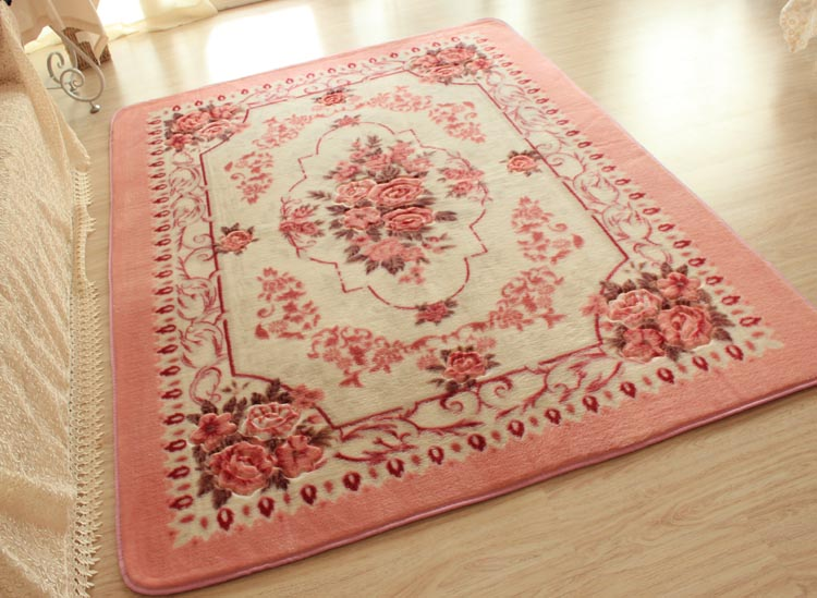 Pink European Rose Floral Floor Mat Rug Carpet Victorian