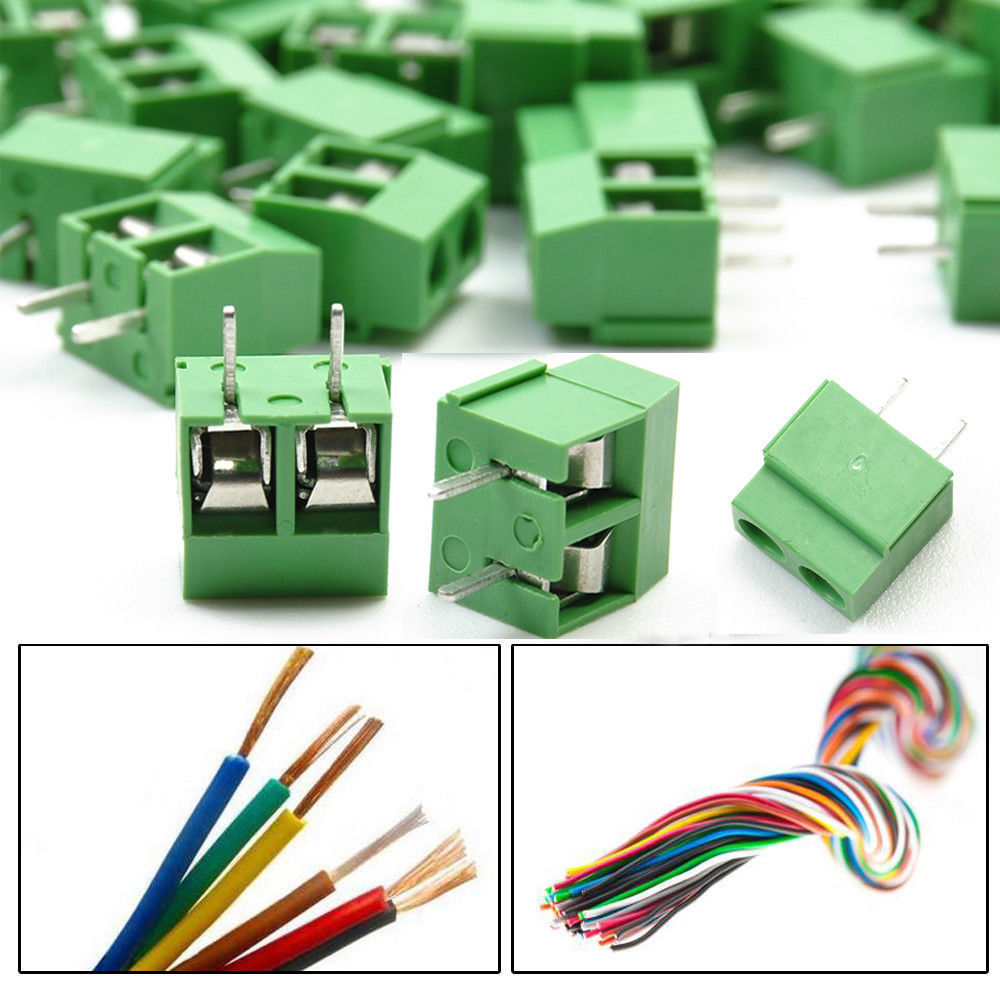 30pcs 2 Pin Screw Green Pcb Wire Terminal Block Cable Connector 5mm Phone Wiring Pitch Gl514
