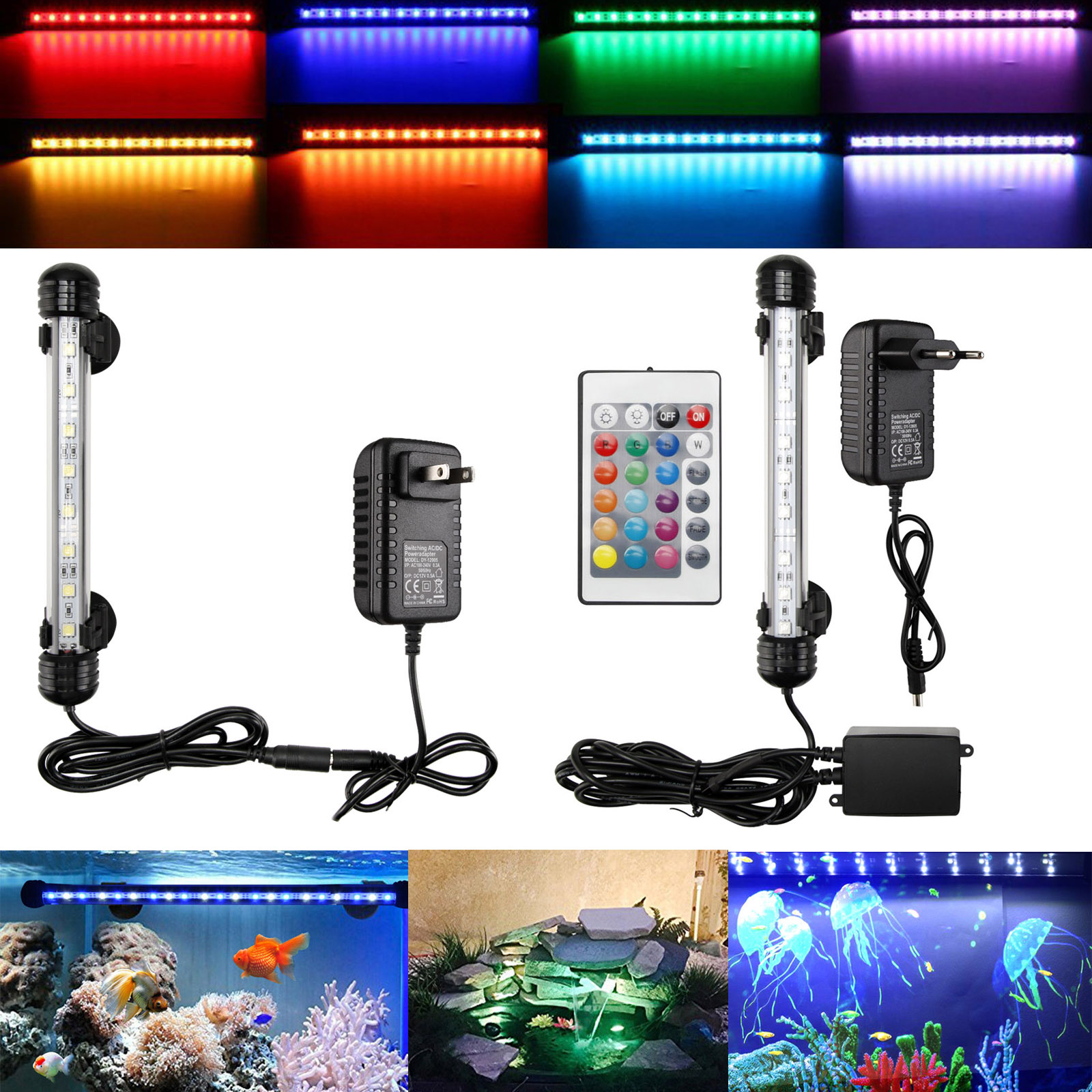About Aquarium Rk Lamp Waterproof Submersible White Light Rgb Details Fish Strip Led Tank Blue Y6vb7gfy