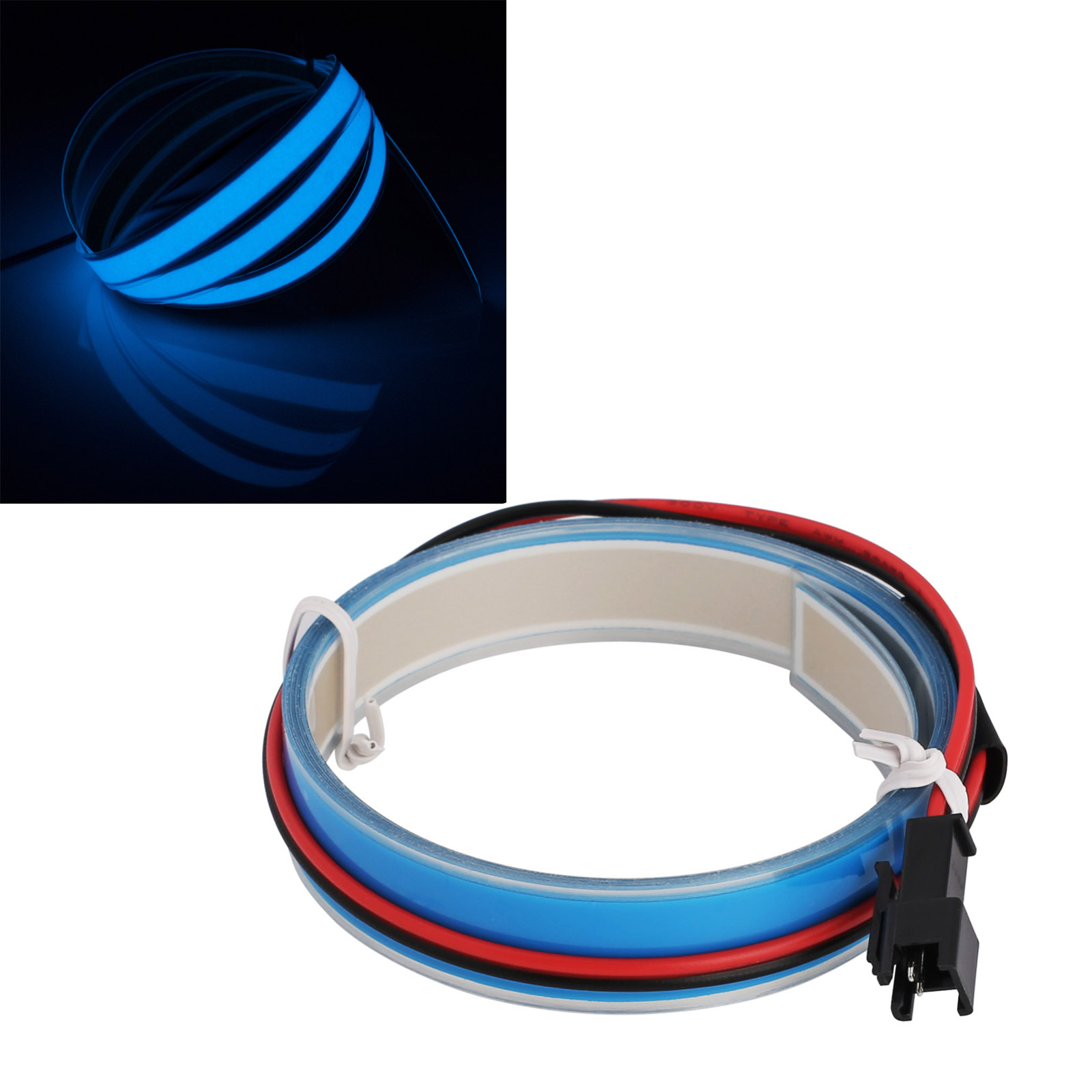 3.28ft LED Flexible Neon Glow EL Wire Tape Strip For Xmas Party ...
