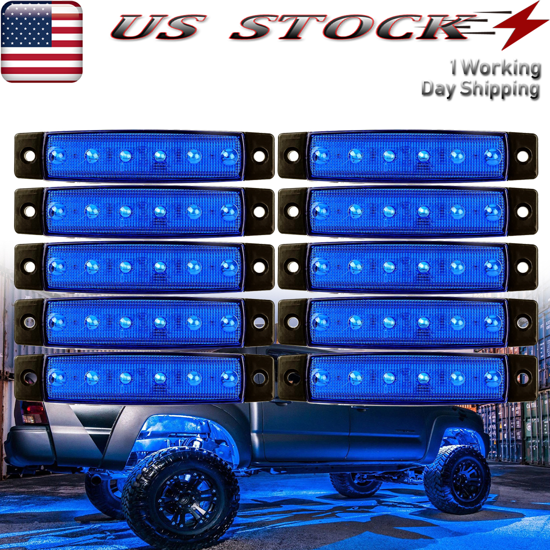 10X 6-SMD RV Travel Trailer Porch Lights Blue Car LED Step Stair Exterior Light
