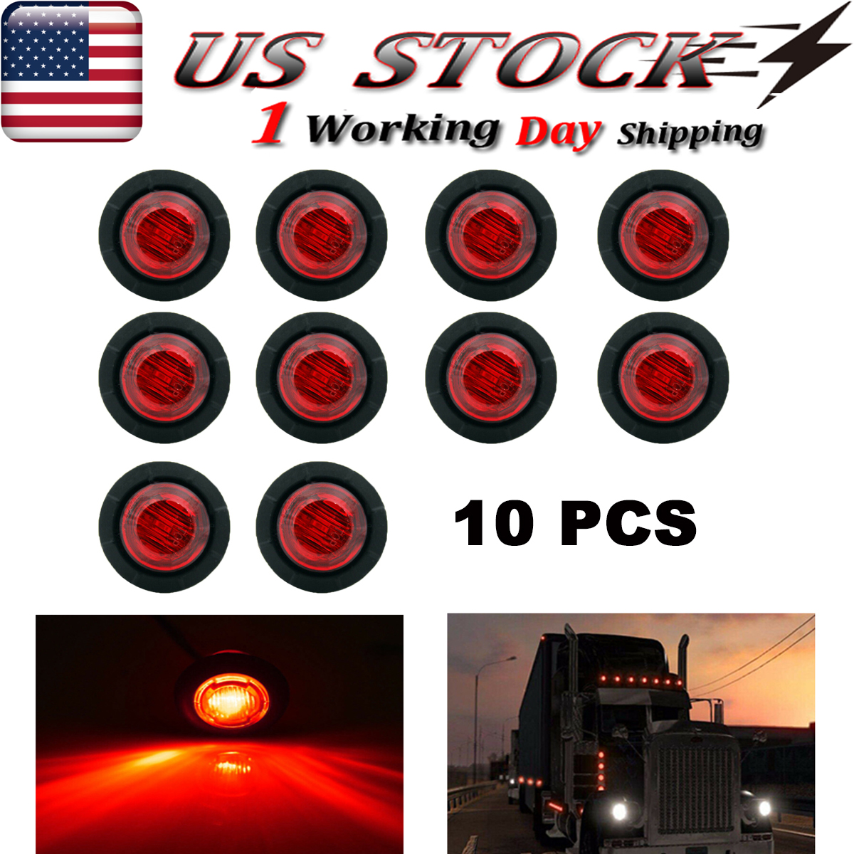 """Side Marker 20 X 6 LED Red 1-1//4/"""" Light Trailer Truck Lorry Van Round Indicator"""