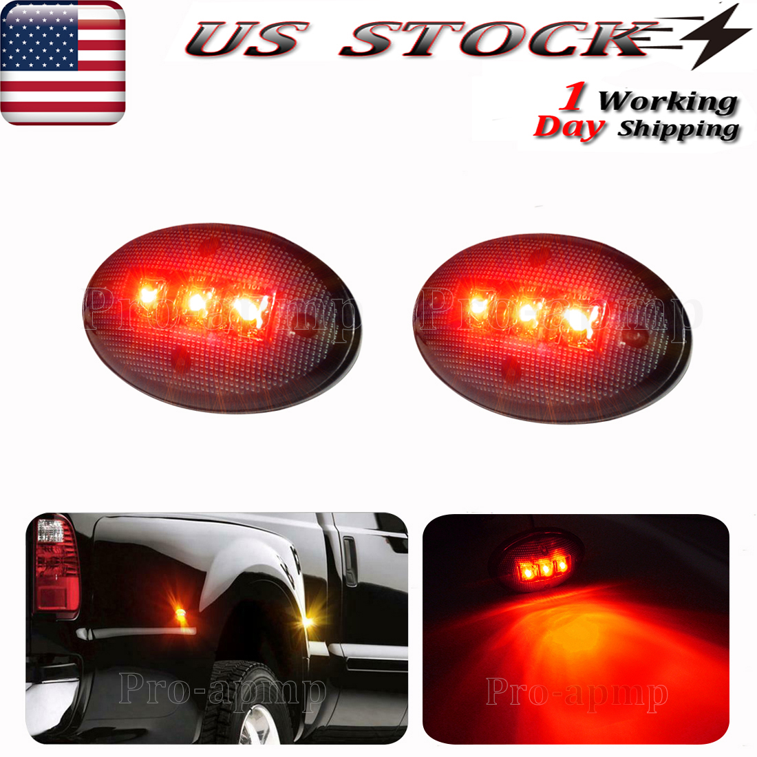 For 4 Pcs Smoked Dually Model 1999-2010 Ford F250 F350 F450 Superduty Fender LED Marker Lights