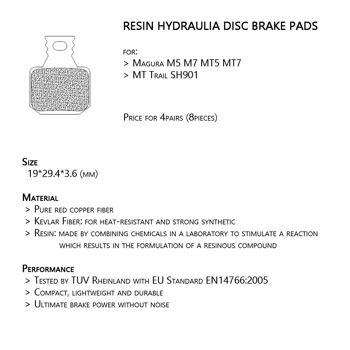 4 Pairs Bicycle Brake Pads For Magura M5 M7 MT5 MT7 SH901 Resin Hot Sale