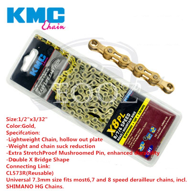 KMC X8.93 Chain 6 7 8 Speed 116 Links fits SRAM Shimano Campy MTB Road Bicycle