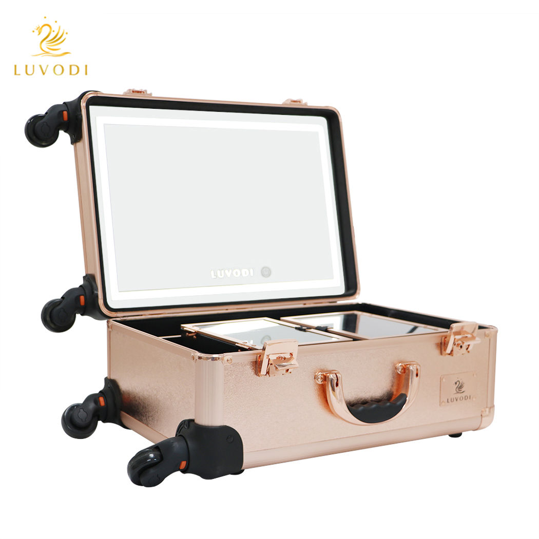 Hollywood Cosmetic Makeup Case Clear Bag Led Lighted Mirror Dressing Table Stand