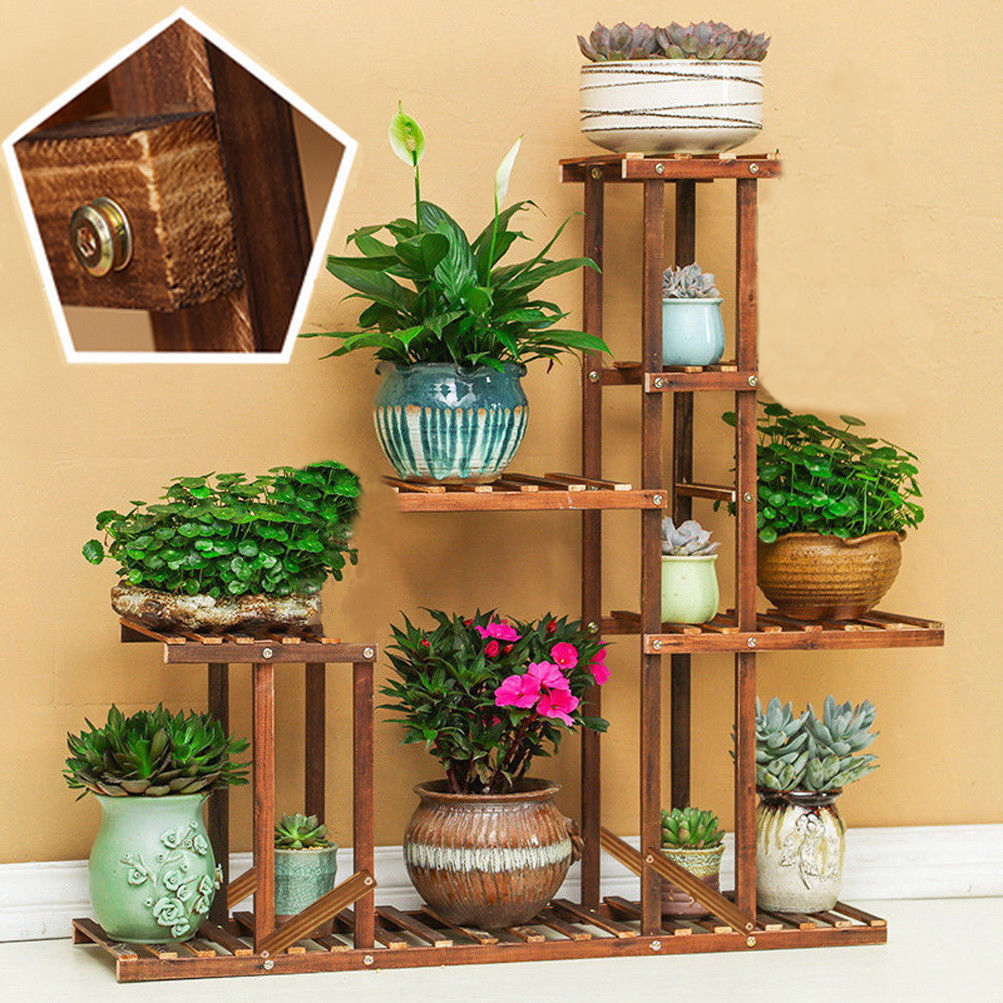 Details About 5 Tier Cypress Wooden Shelf Flower Pot Plant Stand Display Indoor Outdoor Garden