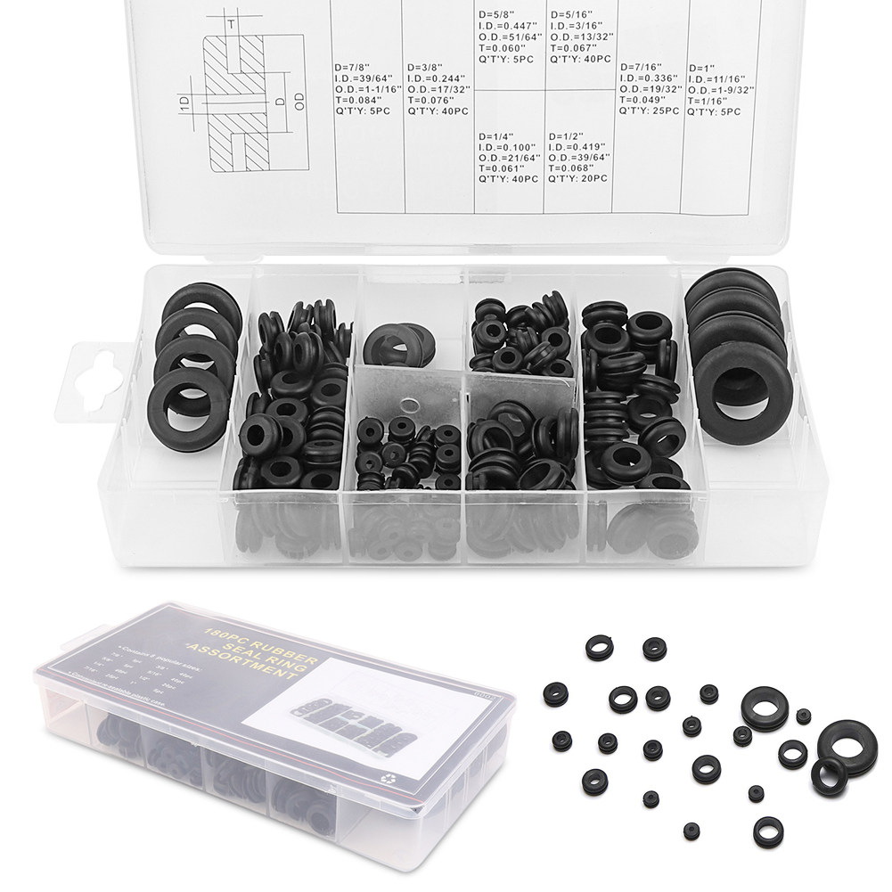 5//16 7//8,1 7//16 Rubber Grommets Kit, 180 Pcs Rubber Grommet Wire Ring, Electrical Gasket Washer Seal Assortment, Size: 1//4 1//2 5//8 3//8
