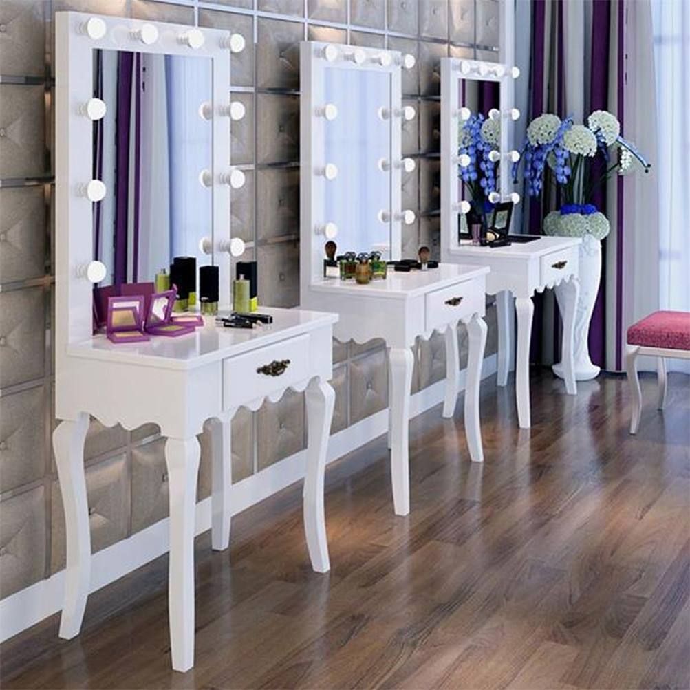 white vanity makeup dressing table set w led lighted. Black Bedroom Furniture Sets. Home Design Ideas