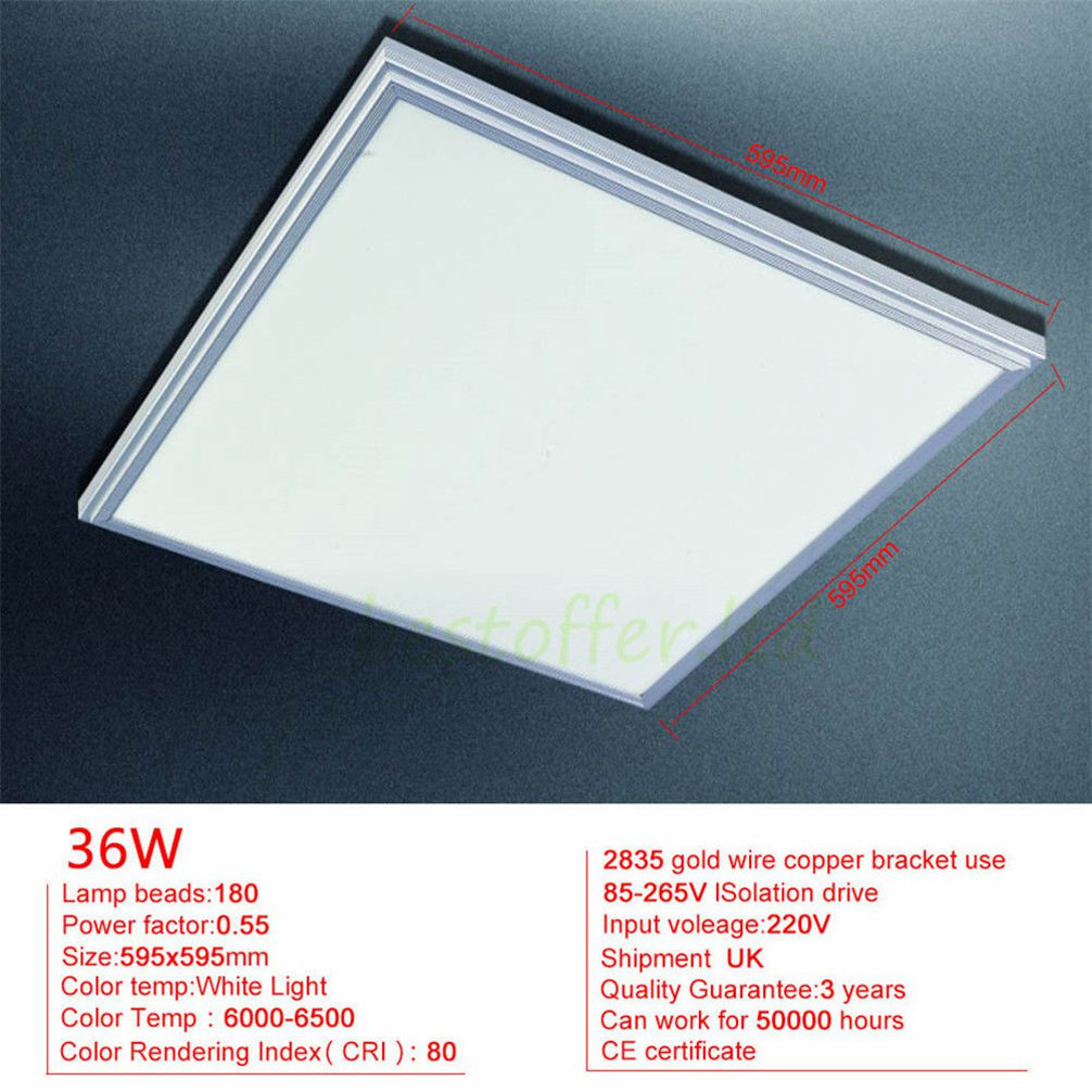 20 48w Square Led Recessed Ceiling Panel Down Lights Home Office Indoor Bulbs