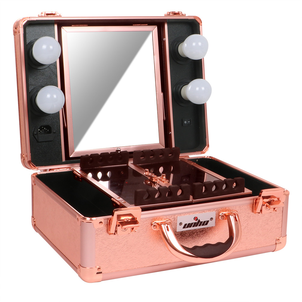 Vanity Mirror With Lights Portable : Pro Portable Lighted Cosmetic Make Up Travel Train Case Vanity Mirror Box w Keys eBay