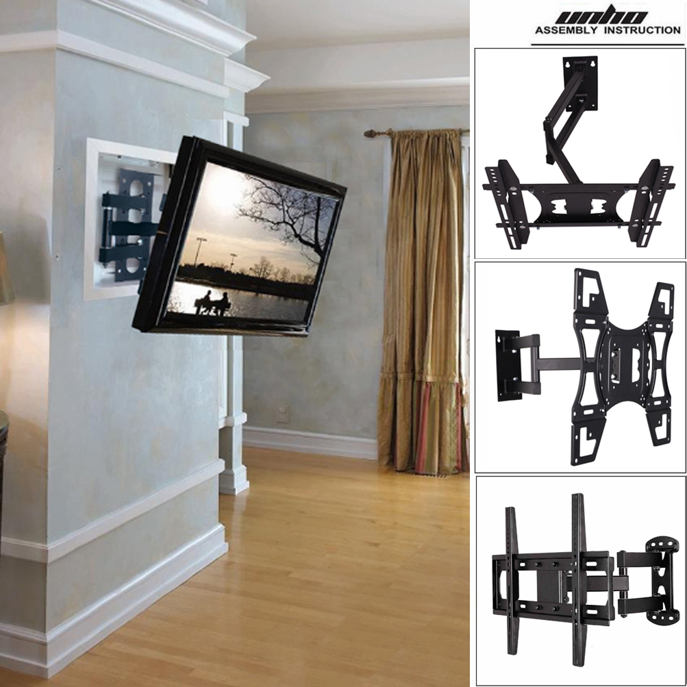 unho universal tilt swivel articulating corner tv wall mount bracket 22 70 inch ebay. Black Bedroom Furniture Sets. Home Design Ideas