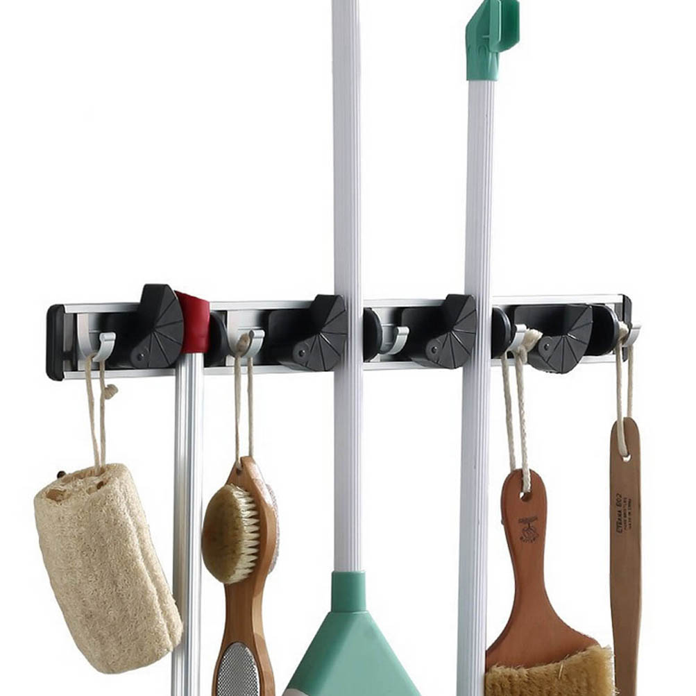 Alloy Wall Mop Broom Holder Hanger Garden Cleaning Tool