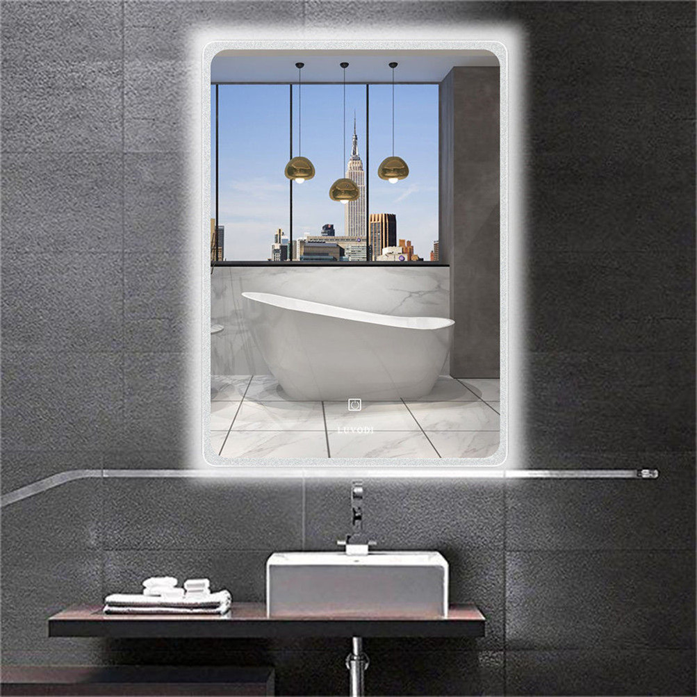 Details about Large Touch LED Bathroom Mirror Electirc Fogless Built-in  Light Strip Mirror USA
