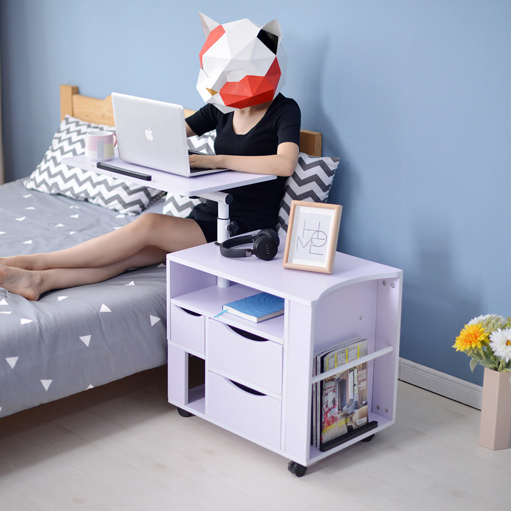 Laptop Desk Bedside Table Mobile Side Bedroom Cabinet Multifunction Night Stand