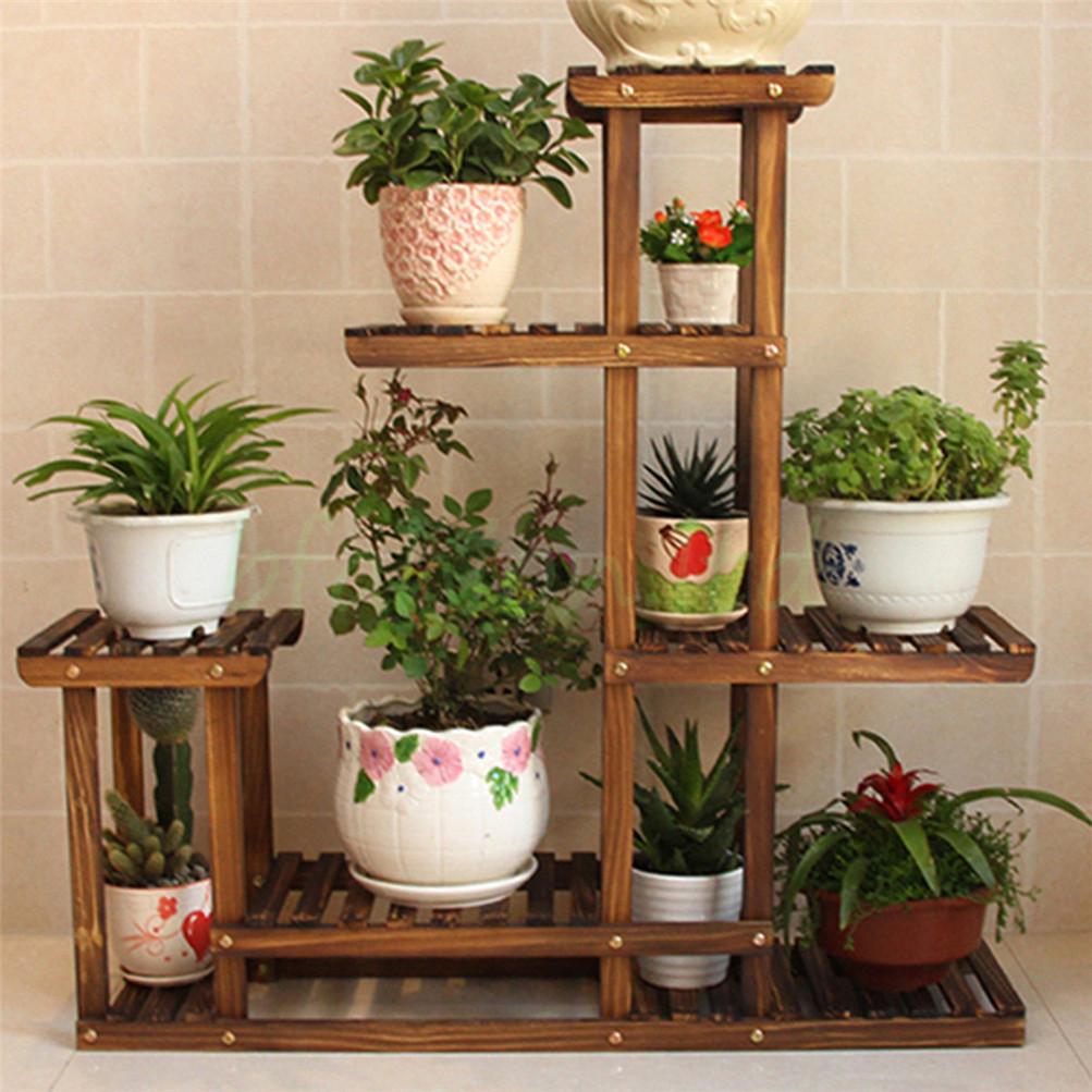 Vintage Multilayer Wooden Plants Stand Shelf Garden Home ...