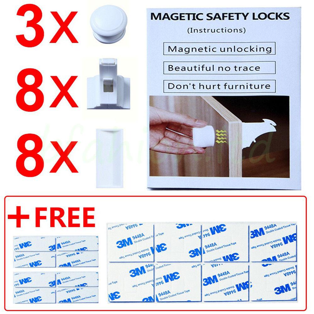 Safety 1st 8 lock complete magnetic locking system set safety 1st - Magnetic Cabinet Locks Baby Safety Set 8 Locks 3 Keys Child Proof Kit