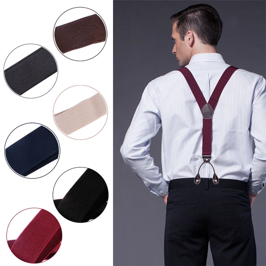 7b7a6e877 Details about New Adjustable Wine Red Mens Braces Suspenders Wide Thick 3.5  cm 6 Button City