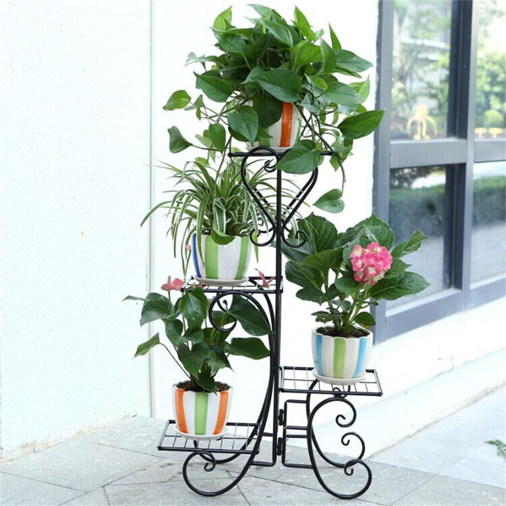 4 tier plant stand screen home decor folding metal flower holder indoor outdoor 7625736813088
