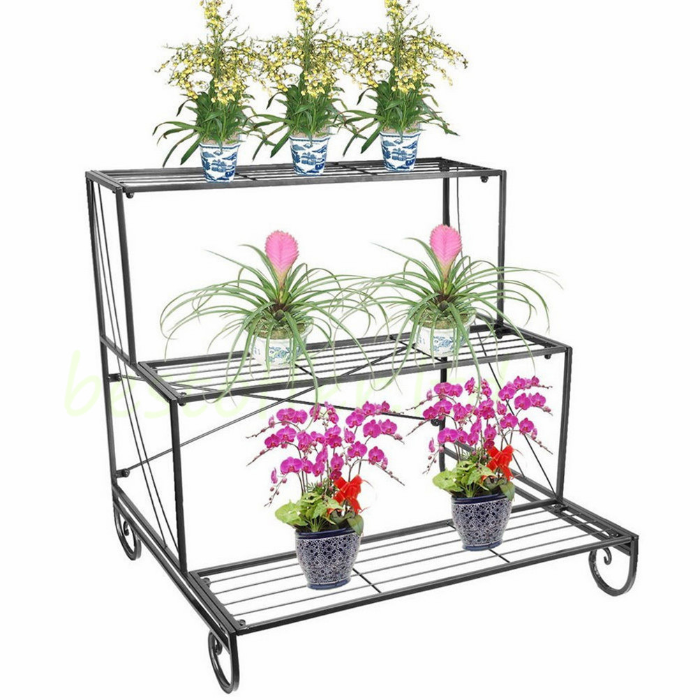 3 Tier Metal Flower Pot Plant Stands Shelf Garden Patio