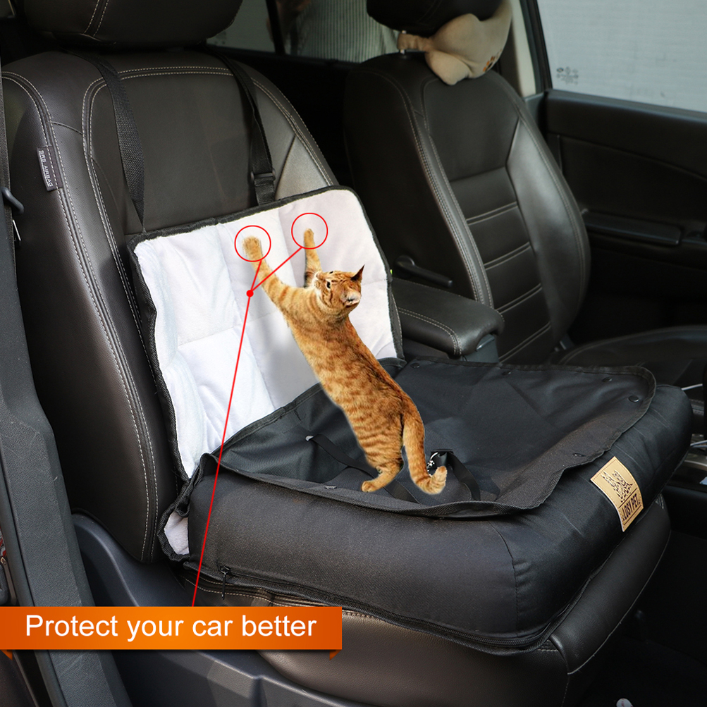 Pet Cushion Car Seat Belt Booster Travel Carrier Folding For Dog Cat Puppy Black