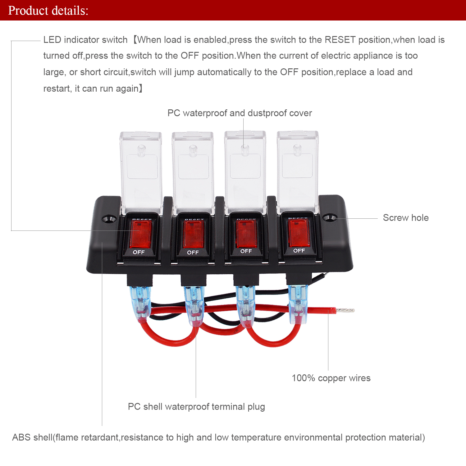 4 Gang 12v 16a Rocker Switch Panel Circuit Breaker W Red Led For Wire Toggle Wiring Diagram Also Automotive Car Suv Boat