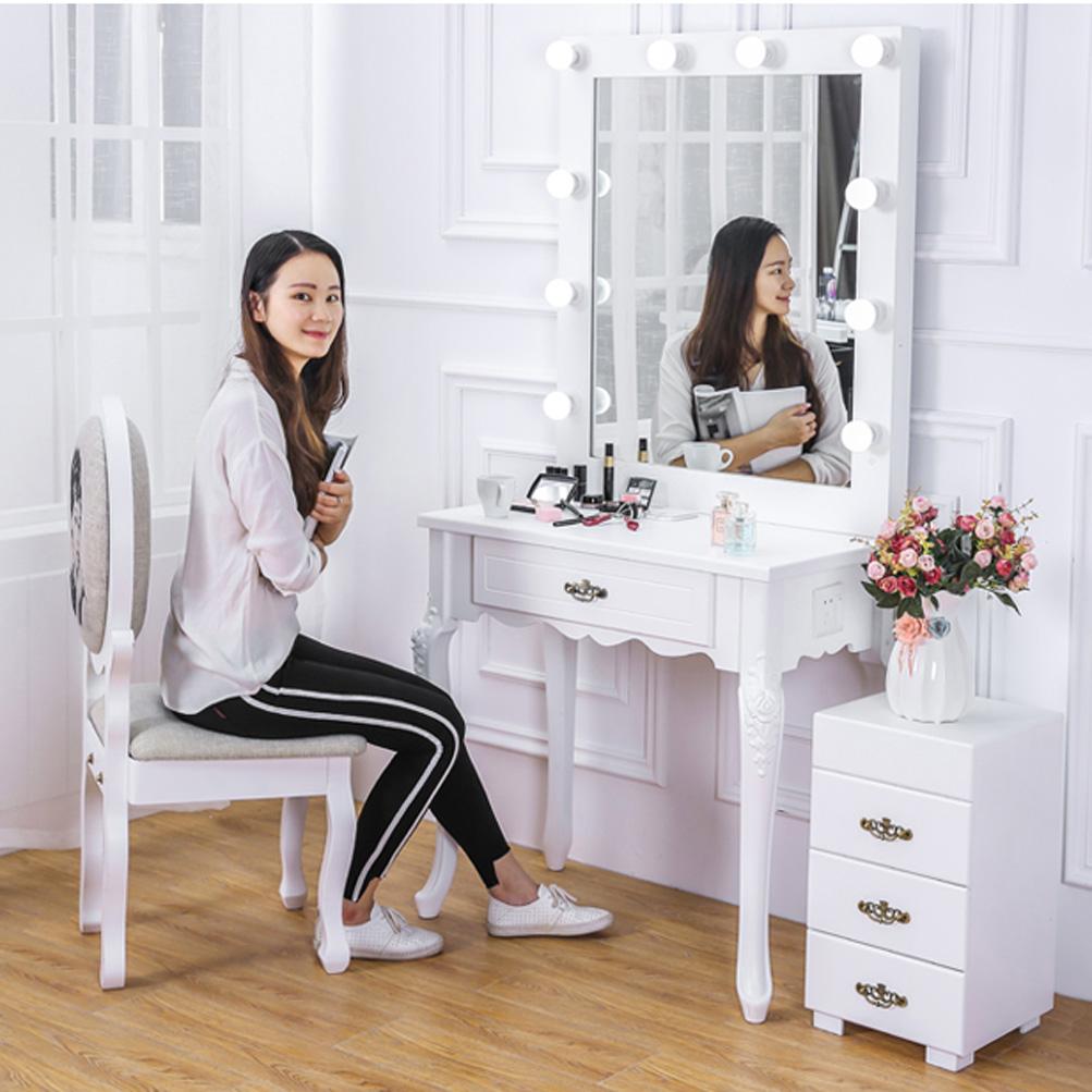 Home Studio Maren White Vanity Set Dressing Table U0026 LED Lighted Hollywood  Mirror