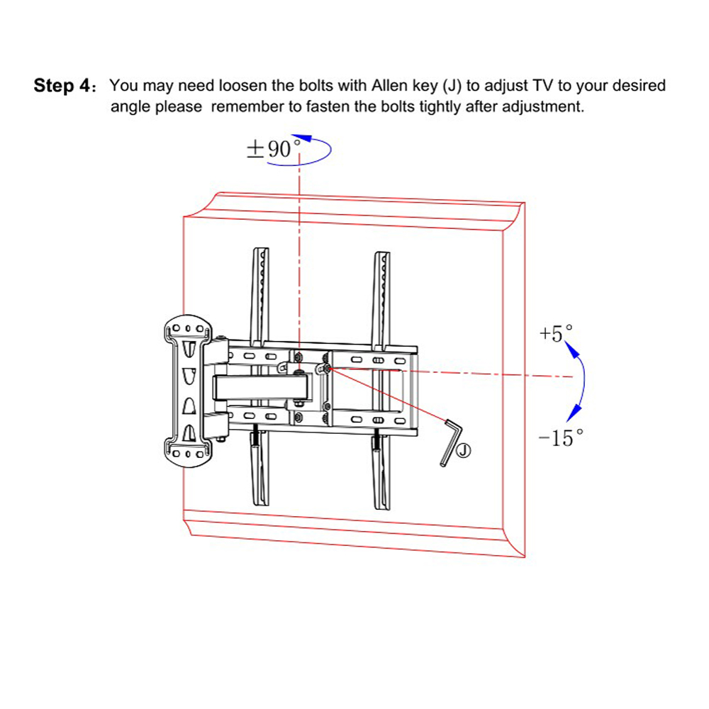 Full Motion Tv Mount Swivel Bracket 23 32 42 47 55 Inch Flat Screen Engineering Schematics Plasma Support 30kg