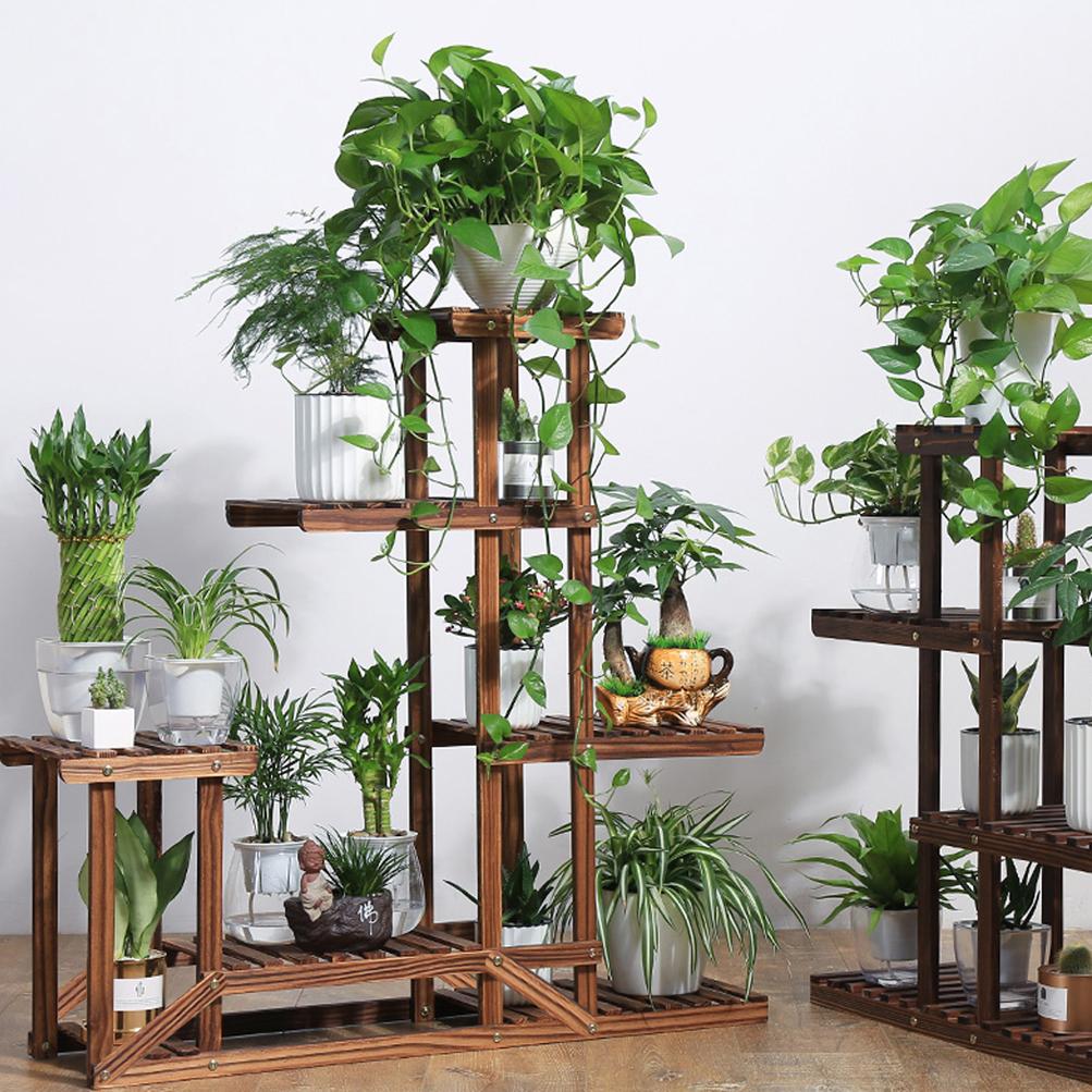 heavy duty wood 5tier plant stand shelf indoor outdoor. Black Bedroom Furniture Sets. Home Design Ideas