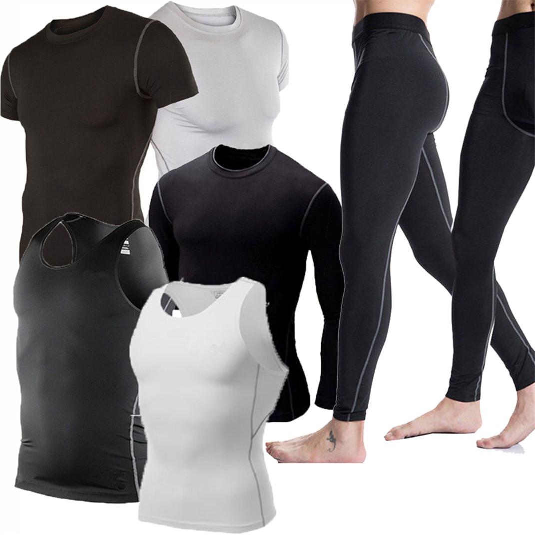 Mens Compression Shirt Running Gym Tops  Long Sleeve Base Layer Tight
