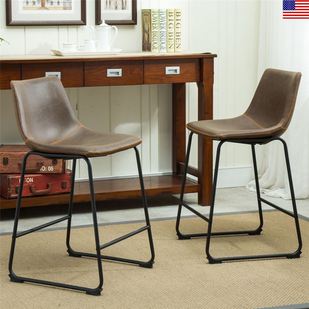 Swell Details About Set Of 2 Counter Barstool Vintage Pu Cloth Bar Stools With Back And Footrest Camellatalisay Diy Chair Ideas Camellatalisaycom