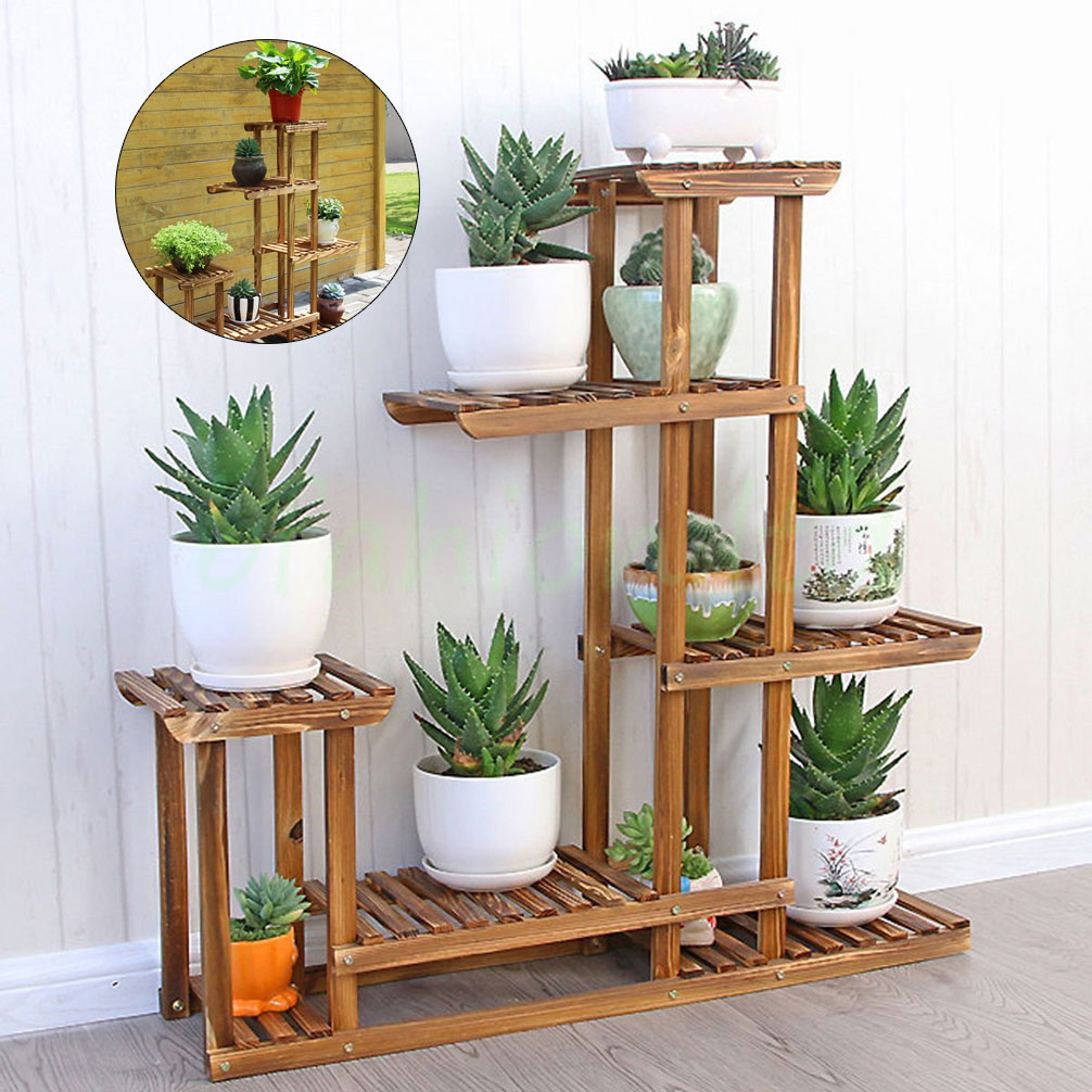 Pot Stand Designs : Garden wooden plant stand pot planter holder rack tier
