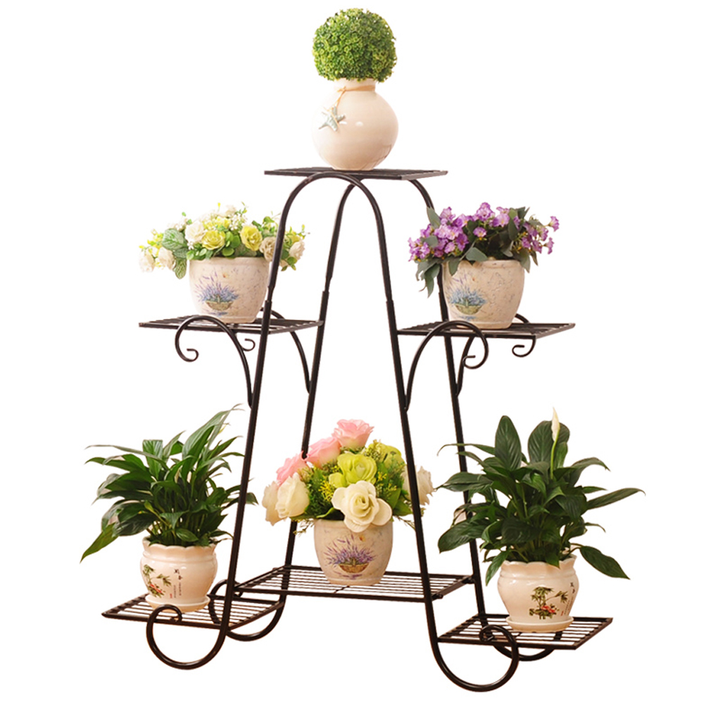 Details About 6 Tier Steel Indoor Outdoor Plant Stand Metal Flower Pot Holder Shelf 15 X28x30