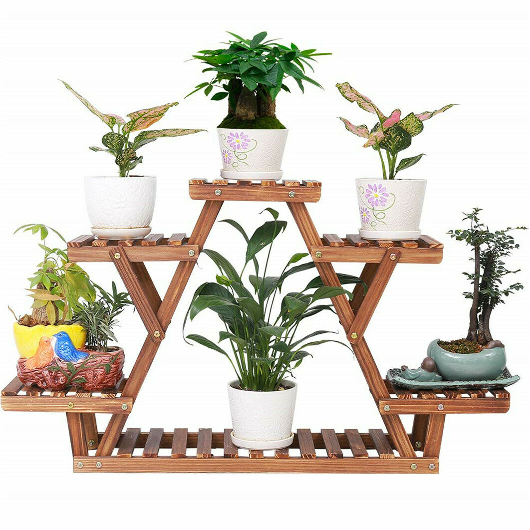 Indoor Outdoor A Frame Plant Stand Window Patio Flower Rack Holder Natural Wood Ebay