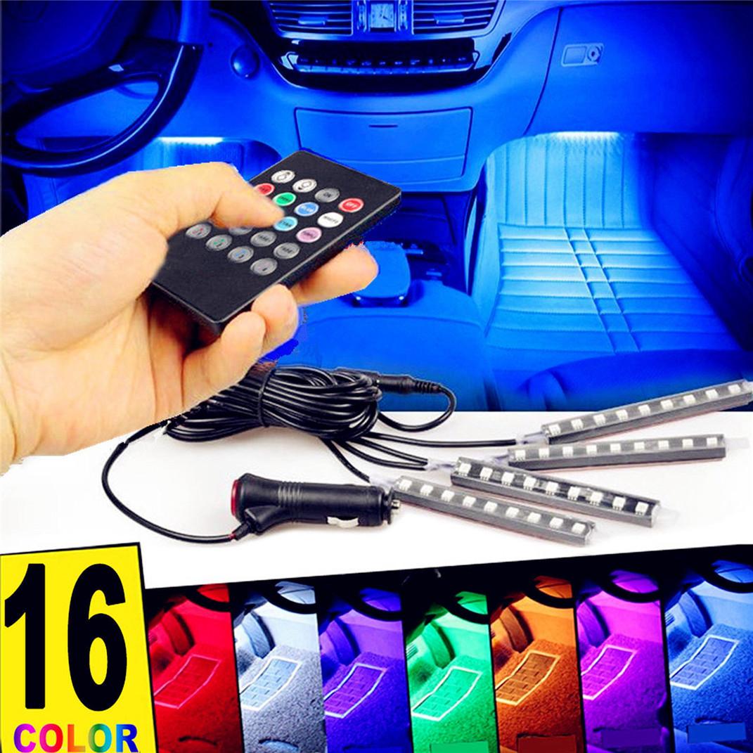 Mini USB Colorful LED Car Interior Light Voice Control Atmosphere Ambient La Hs