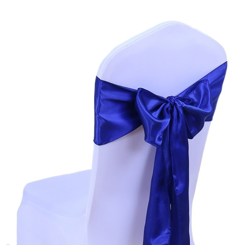 100x Satin Chair Cover Bow Sash Back Tie Bands For Wedding