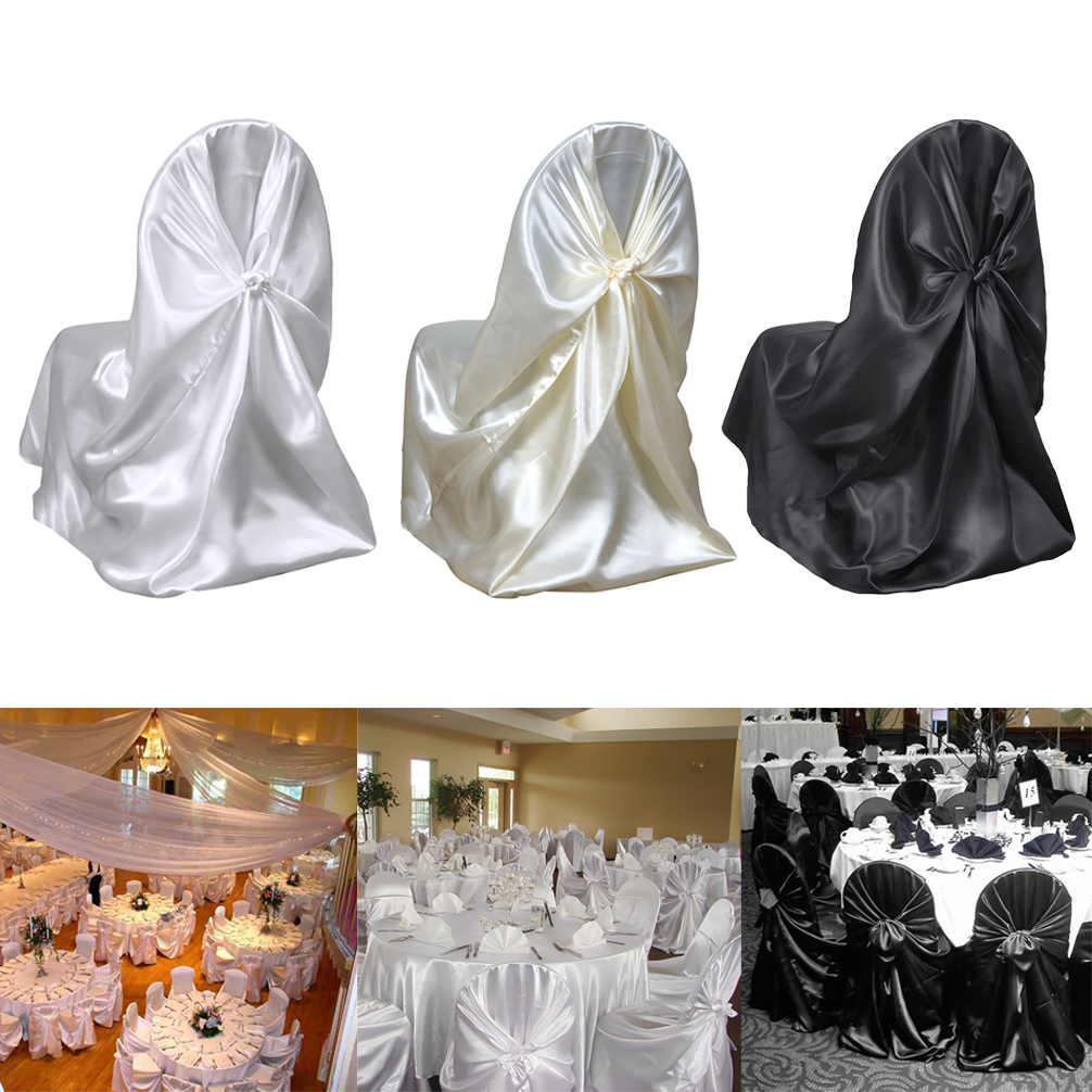 Groovy Details About Beige Satin Universal Chair Covers Wedding Party Ceremony Discounted Supplies Cjindustries Chair Design For Home Cjindustriesco