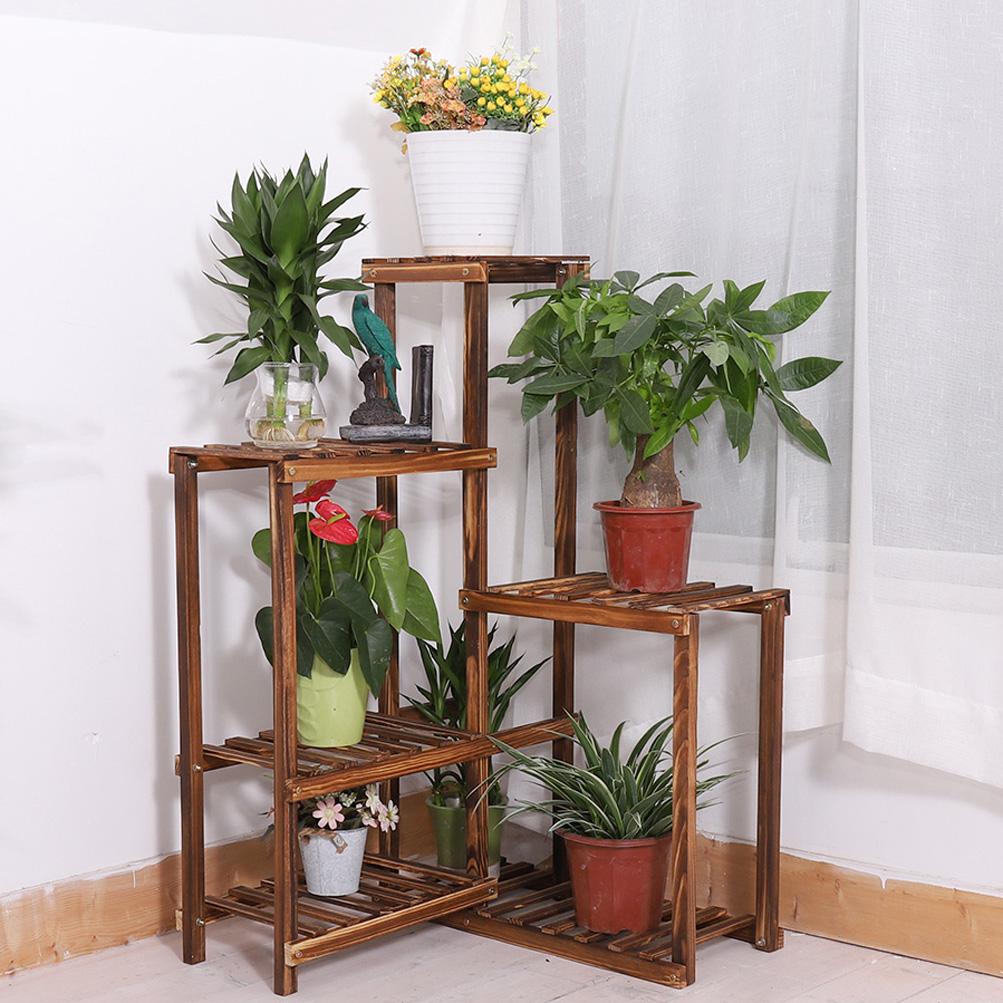 Details About 6tier Wood Corner Rack Shelf Flower Stand Plant Ladder Pot Holder Indoor Outdoor