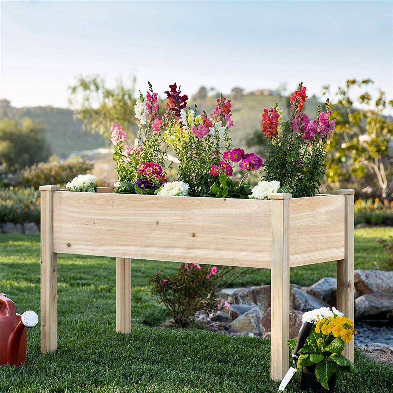 "46x22x29"" Raised Garden Bed Elevated Wood Planter Box"