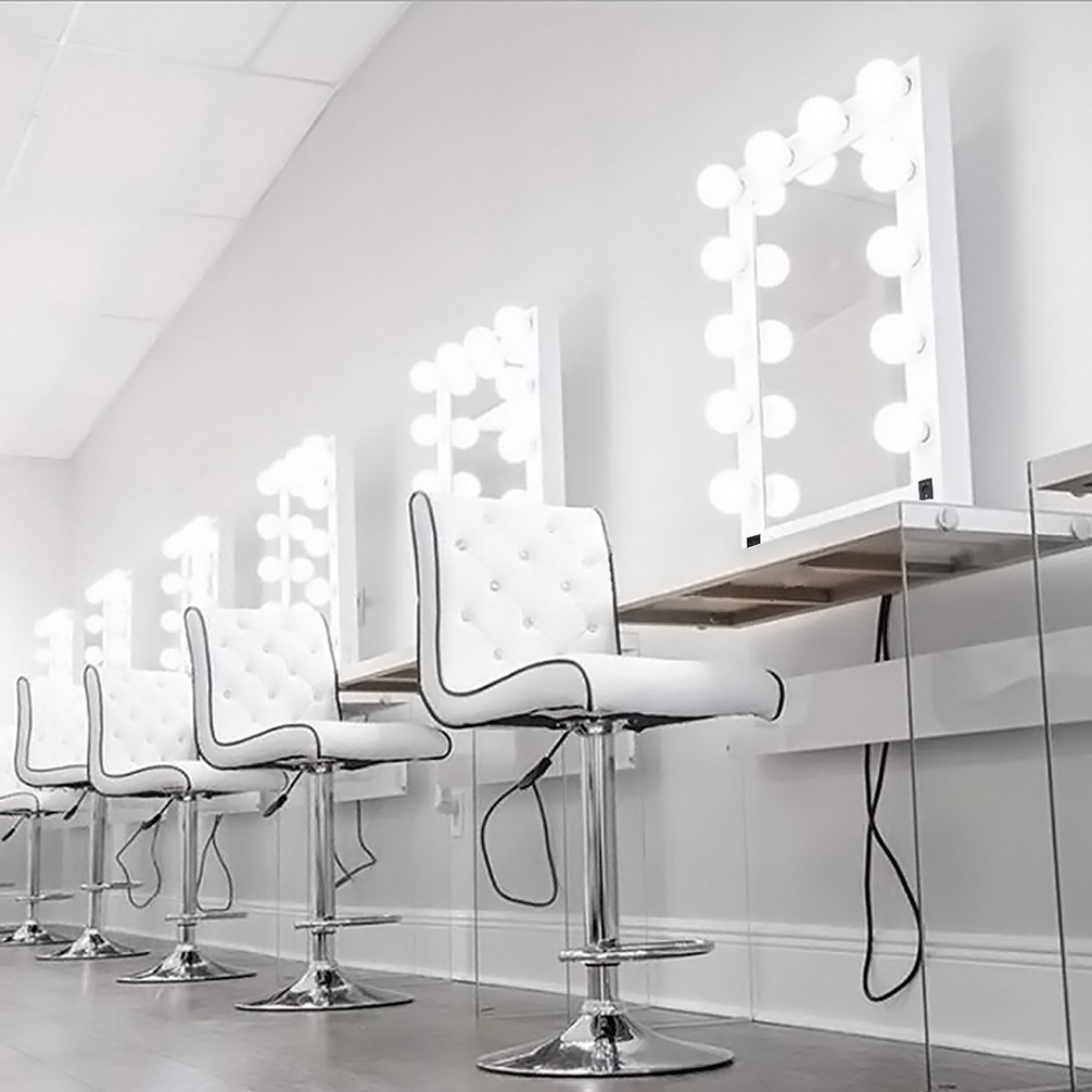 Details About Blk White Vanity Lighted Hollywood Makeup Mirror With Dimmer Stage Beauty