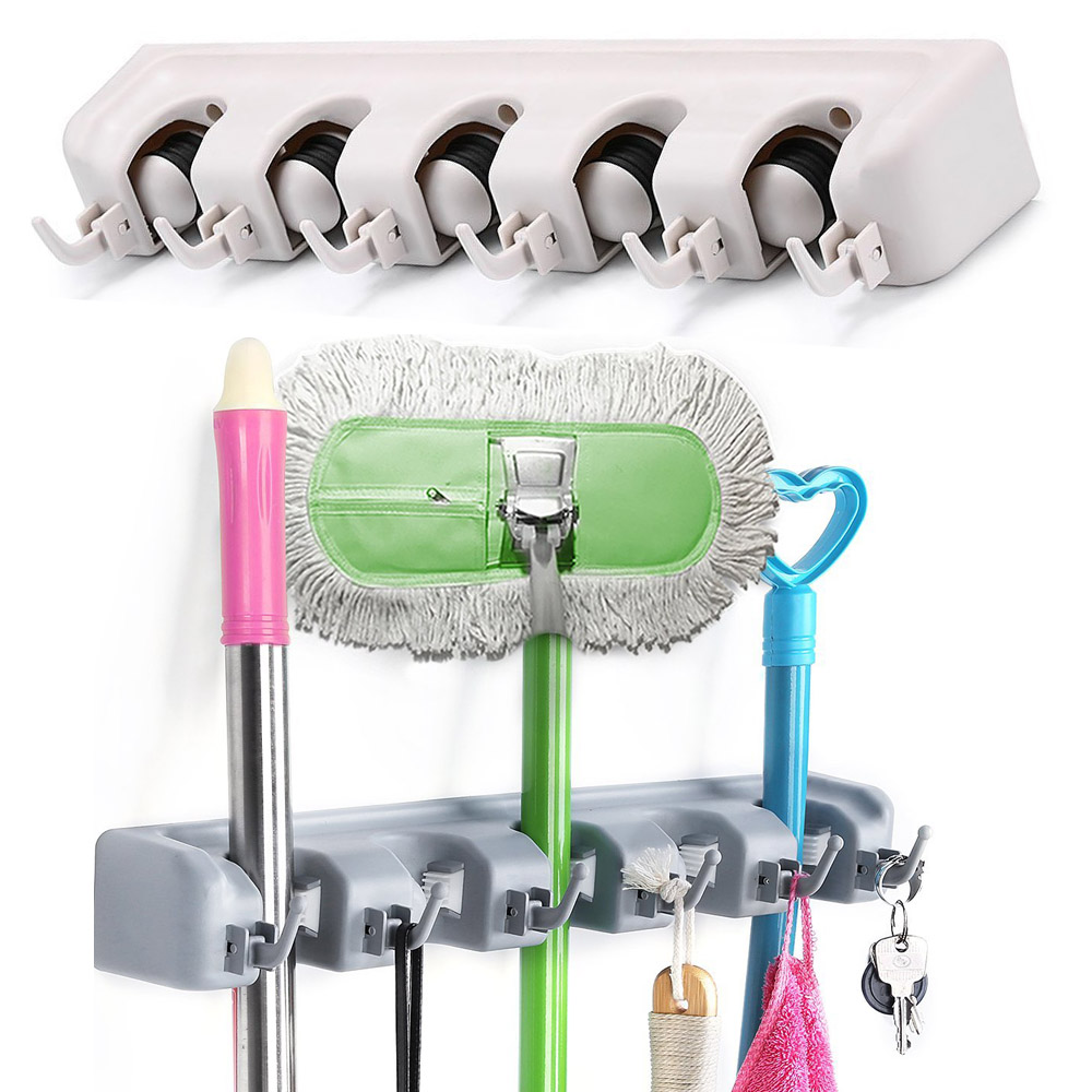 Mop And Broom Holder Wall Mount Broom Organizer Cleaning